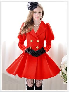 Morpheus Boutique  - Red Ruffle Long Sleeve Holiday Double Breasted Lady Pleated Overcoat
