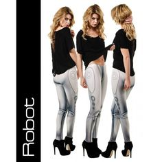 Robot android metallic look leggings by Taut Unique Outfits, Cool Outfits, Cyborg Costume, Blond, Aerial Costume, Best Leggings, Athleisure, Hosiery, Robot