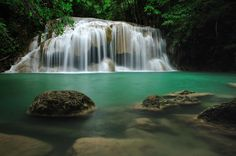 Location : Erawan waterfall  Kanchanaburi province, Thailand