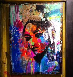 "My solo show ""India"" @galerie_sbk Lyon,France. 130x97cm ""l'écoute"" #jmrobert #paint #peinture #painting #instaart #canvas #colors #women #girl #face #femme #urbanart #art #arts #arte #artcontemporary #artcontemporain #artcontemporainurbain #graffitiart #artwork #artgallery #gallery #lyon #colorful #streetart #india #galeriesbk #lyongraffiti"