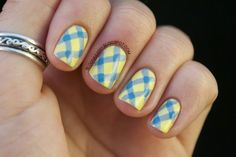 cute yellow and blue plaid nail idea
