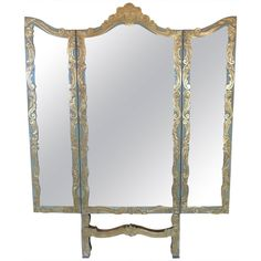 French Glam ~ Silver Leaf Dressing Mirror ~ Tri Fold 3 Panel Full ...