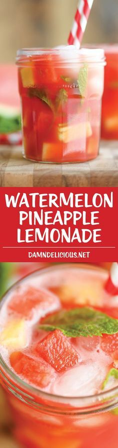 Watermelon Pineapple Lemonade - A fun twist on the traditional lemonade that&apo. CLICK Image for full details Watermelon Pineapple Lemonade - A fun twist on the traditional lemonade that's wonderfully tangy, sweet. Party Drinks, Cocktail Drinks, Fun Drinks, Healthy Drinks, Healthy Recipes, Non Alcoholic Drinks, Cocktails, Party Desserts, Malibu Drinks