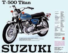 1975 Suzuki M Titan advertisement * Motorcycle Posters, Motorcycle Bike, Titan Ae, Suzuki Bikes, Honda 750, Gt500, Classic Bikes, Cars And Motorcycles, Motorbikes