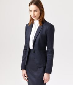 Twill and Linen Skirt Suit | Women's Suits | Austin Reed