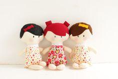 """Custom Rag doll, cloth rag doll, baby gift for girl, handmade rag doll, small doll, 12"""" inch doll,  stuffed toy, handcrafted in Ireland"""