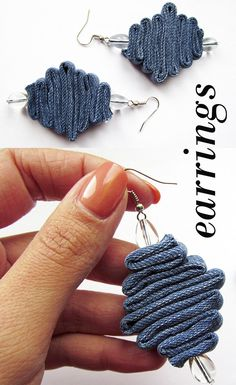 Your place to buy and sell all things handmade - Denim jewelry Denim Earrings Jeans jewelry Geometric jeans Best Picture For silver jewelry For Yo - Textile Jewelry, Fabric Jewelry, Wire Jewelry, Jewelry Crafts, Beaded Jewelry, Handmade Jewelry, Bridal Jewelry, Earrings Crafts, Boho Jewellery