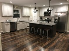 Waypoint Ember Glaze Cabinets with Cherry Slate Island. Taupe Kitchen, Kitchen Colors, Azul Platino Granite, White Cabinets, Kitchen Cabinets, Updated Kitchen, Slate, Home Remodeling