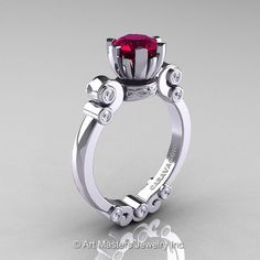 Caravaggio 14K White Gold 1.0 Ct Garnet Diamond Solitaire Engagement Ring R607-14KWGDG. Classy and tastefully designed for your special moment, this