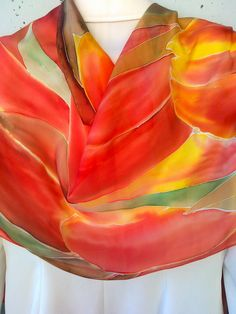 Red Tulips Hand Painted Silk Scarf for Ladies. Red by SilkLetters, $57.00
