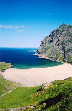 Bunes beach, Lofoten, Norway. Though unfortunately it's isolation does not always mean the beach is uncrowded. On a sunny summer day thick crowds of tourists will be waiting on the pier in Reine to catch the morning ferry over for the day. http://www.68north.com/outdoors/hiking-bunes-beach/