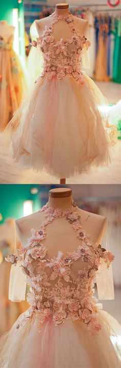 cute tulle lace applique short prom dress, cute homecoming dress http://bellanblue.com
