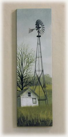 A Billy Jacobs' piece that features a windmill. Farmhouse Paintings, Country Paintings, Barn Pictures, Pictures To Paint, Billy Jacobs Prints, Windmill Decor, Old Windmills, Autumn Painting, Art Walk