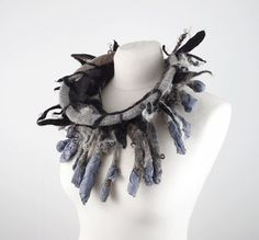Felted Collar felt grey Necklace BEDOUIN BEAUTY wild by filcant, $199.00