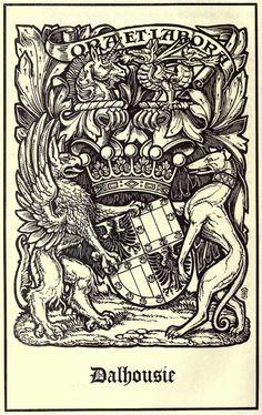 Dalhousie Coat of Arms, Met die Eerste twee familie hoofde, van die Clan Ramsy van Scotland, se family wapens bo die skuld. Family Crest Tattoo, Wine Logo, Vintage Labels, Pretty Art, Coat Of Arms, Embroidery Designs, Flags, Tapestry, Symbols