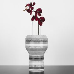 silestone slab vase with red orchids