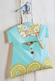 Art Gallery Fabric Dress-shaped Peg and Laundry Bag