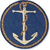Handmade 100% Wool Decorative Coastal Blue and White Ship's Anchor Nantucket Cape Cod Style Maritime Decorative Nautical Beach House Shore Hooked Rug. 31″ round. (Diameter across)