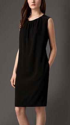 Black Lambskin Panel Crepe Shift Dress - Image 1