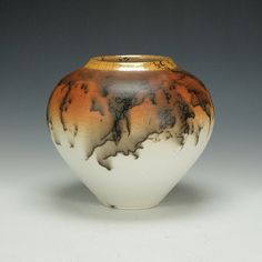 Horse Hair Raku Pottery with crackle glaze.  Ready to ship.
