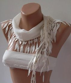 Ivory Beige and Elegance Shawl / Scarf with Lace Edge by womann, $13.90