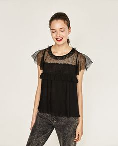 Image 1 of PLEATED CONTRAST TOP from Zara