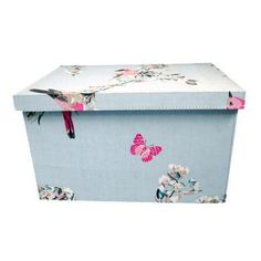 Duck Egg Beautiful Birds Storage Box small medium or large from Office Storage, Office Organization, Organized Office, Plastic Box Storage, Storage Boxes, Storage Ideas, Duck Egg Blue Lamp, Duck Egg Blue Bedroom, Box Bedroom
