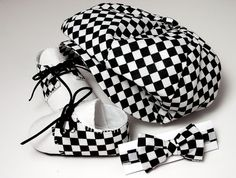 Cooper Baby Boy Hat, Shoes and Bow Tie Set, Checkered and Linen. Sporty, Infant, Handmade
