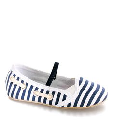 More than just a slip-on-and-go shoe, this flat is supremely stylish. Nautical stripes help make this footwear fashionably fabulous.Canvas upperCanvas liningRubber soleImported