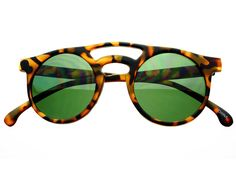 Retro Keyhole Round Sunglasses Matte Tortoise