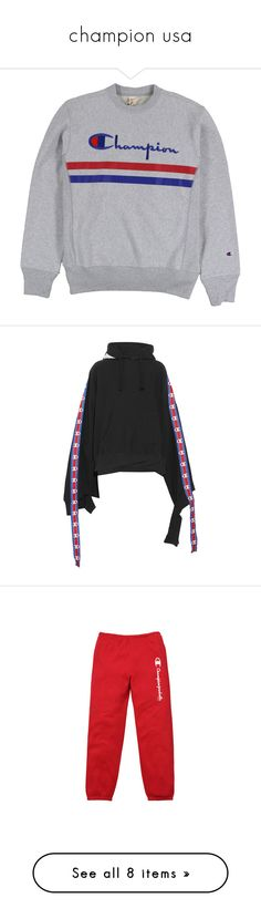 """""""champion usa"""" by merciful-mendes ❤ liked on Polyvore featuring tops, sweaters, crew top, crew neck tops, crew-neck tops, hoodies, sweatshirts, red hoodies, cut-out tops and cutout sleeve top"""