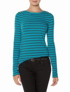 Striped Shoulder Detail Top from THELIMITED.com #ItsTime #TheLimited  You know how I like stripes and teal!!! ~A