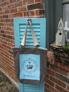 Aqua Crown and Bee Bag - French Paris Vintage - Blue - La Parisienne - Distressed