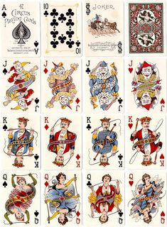 Circus No.47, face cards and detail. Deck issued by the United States Playing Card Company, 1896.  Very rare deck even though in production a long time, possibly made for children thus resulting in a very low survival rate. Images courtesy Rod Starling.