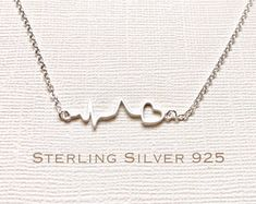 Sterling Silver heartbeat necklace, heartbeat necklace, EKG necklace, ECG necklace, medical gifts, nurse necklace, doctor necklace, medical