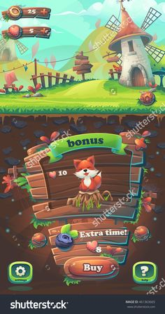Feed The Fox Gui Match 3 Buy Window - Cartoon Stylized Vector Illustration Mobile Format With Options Buttons, Game Items. - 461363665 :…
