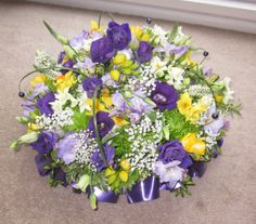 round posy of spring flowers Funeral Flowers, Wedding Flowers, My Flower, Spring Flowers, Floral Arrangements, Floral Wreath, Bouquet, Wreaths, Weddings