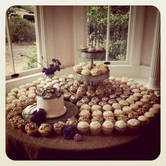 Anthropologie inspired wedding cake and cupcakes @Allan House Austin, TX