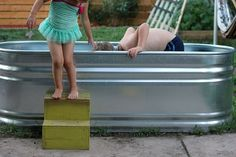 Stock Tank From the Feed Store-a cute pool for kids!