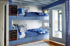 Sarah Richardson 's Rental Cottage Blue Bunk Room Getaway on Georgia . Sarah Richardson, Bunk Rooms, Bunk Beds, Coastal Cottage, Coastal Homes, Shabby Cottage, Ontario, Coastal Bedrooms, Cottage Style