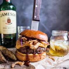 Jameson Whiskey Blue Cheese Burger with Guinness Cheese Sauce + Crispy Onions