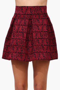 holiday miniskirt with red and black brocade