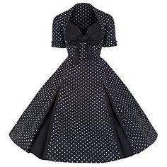 Pretty Kitty Fashion 50s Schwarz Weiß Polka Dot Retro Kleid XL