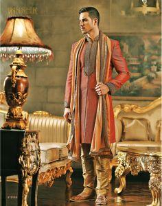 Vanshik Peach Silk Embroidered Indo Western Sherwani