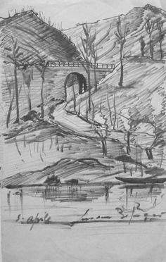E. Besozzi pitt. 1955 Paesaggio pennarello su carta cm. 22,5x14,3 arc. 1211