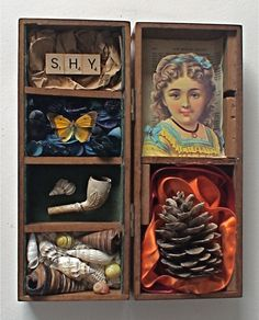assemblage art by mike bennion - 'shy'