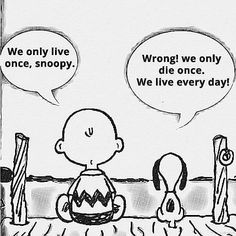 Every single day I try to wake up and live the way Snoopy thinks here. I'm blessed to live my life every day, no matter the situation your in, LIVE every day. That's my bit of motivation for today. Wisdom Quotes, True Quotes, Great Quotes, Motivational Quotes, Funny Quotes, Inspirational Quotes, New Day Quotes, Everyday Quotes, Mano Brown