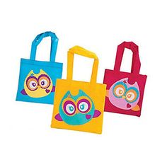 Owl You're a Hoot Mini Tote Bags Birthday Party Treats Favor Goody Fun #ebay