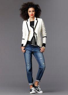 White black tipped blazer + B&W striped top + polka dot cardigan + distressed boyfriend jeans + Black chucks