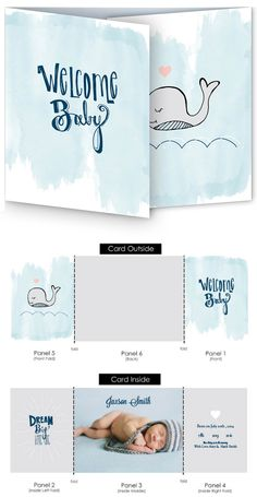 The watercolor whale is a cute tri-fold birth announcement that can be customized to fit your new bundle of joy perfectly.